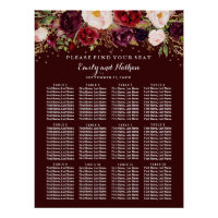 Wedding Seating Chart Burgundy Gold Floral