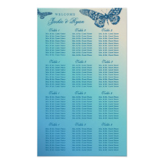 Wedding Seating Chart Butterfly Blue Glitter Poster