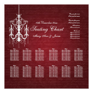 Wedding Seating Chart Chandelier Red Print