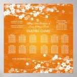 Wedding Seating Chart Cherry Blossom Orange Poster