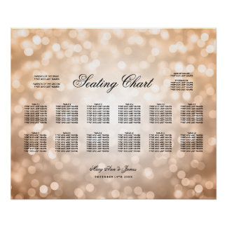 Wedding Seating Chart Copper Glitter Lights Poster