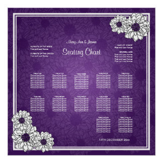 Wedding Seating Chart Dahlia Floral Purple Poster