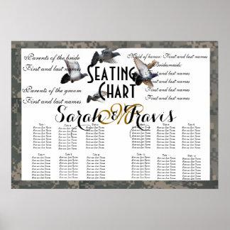 Wedding Seating Chart Doves Acu Monogram Name Poster
