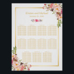 "Wedding Seating Chart Elegant Chic Floral Gold<br><div class=""desc"">================= ABOUT THIS DESIGN ================= Wedding Seating Chart Elegant Chic Floral Gold Poster. (1) Please click the &quot;Customize it&quot; button and use our design tool to enter guests names. (2) The background color is changeable. All text style, colors, sizes can also be modified to fit your needs. (3) If you...</div>"