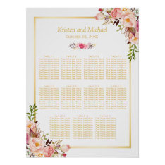 Wedding Seating Chart Elegant Chic Floral Gold at Zazzle