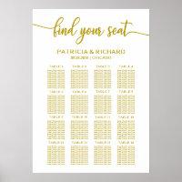 Wedding Seating Chart Elegant Gold Calligraphy