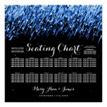 Wedding Seating Chart Falling Stars Sapphire Blue Poster