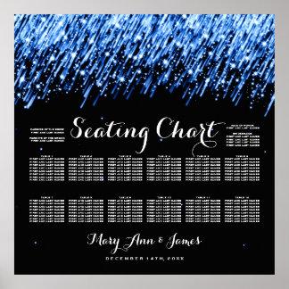 Wedding Seating Chart Falling Stars Sapphire Blue Poster