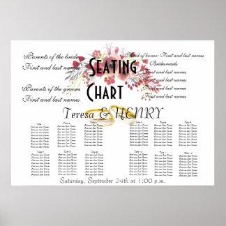 Wedding Seating Chart Floral Destiny'S Destiny Poster
