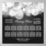 Wedding Seating Chart Glow & Sparkle Black Poster