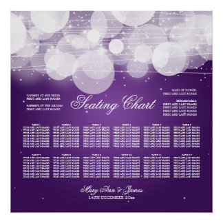 Wedding Seating Chart Glow & Sparkle Purple Poster
