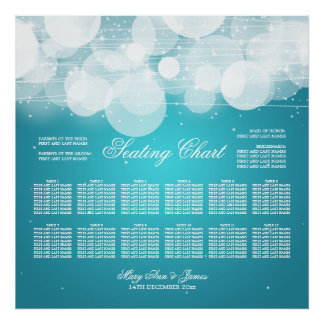 Wedding Seating Chart Glow & Sparkle Turquoise Poster