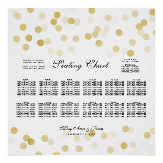 Wedding Seating Chart Gold Foil Glitter Lights Poster