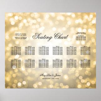 Wedding Seating Chart Gold Glitter Lights
