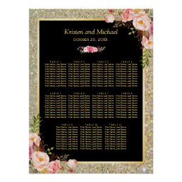 Wedding Seating Chart Gold Glitter Pink Floral