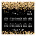 Wedding Seating Chart Gold Lights Poster