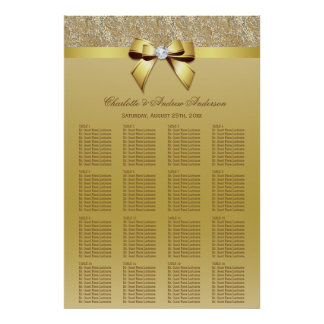Wedding Seating Chart Gold Sequins Bow