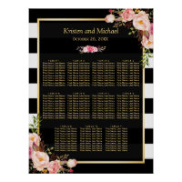 Wedding Seating Chart Gold Vintage Floral Stripes