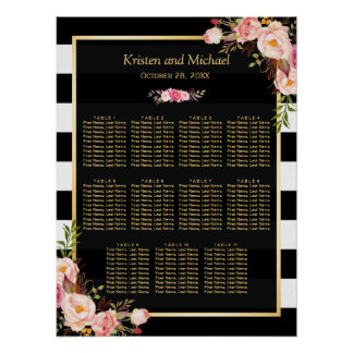 Wedding Seating Chart Gold Vintage Floral Stripes
