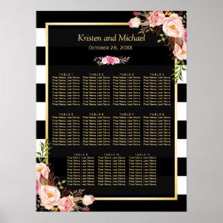 Wedding Seating Chart Gold Vintage Floral Stripes Poster