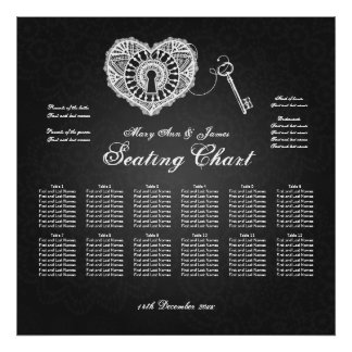 Wedding Seating Chart Key To My Heart Black Poster
