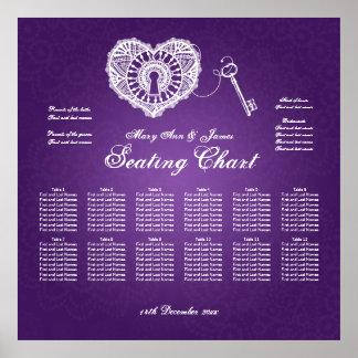 Wedding Seating Chart Key To My Heart Purple