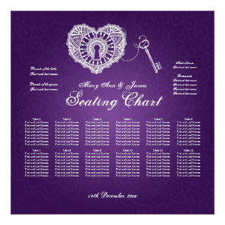 Wedding Seating Chart Key To My Heart Purple Poster