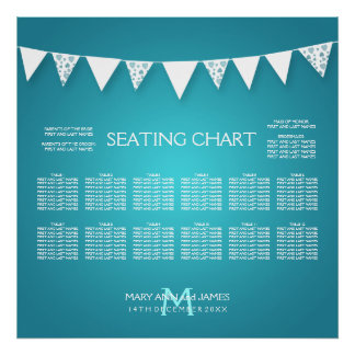 Wedding Seating Chart  Love Bunting Turquoise Poster