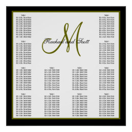 Wedding Seating Chart Monogram Names