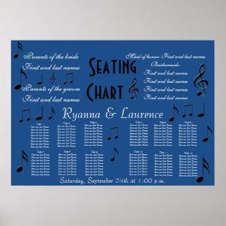 Wedding Seating Chart Music Notes Something Blue Poster