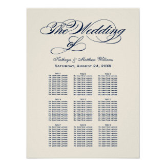 Wedding Seating Chart | Navy Blue Calligraphy Poster