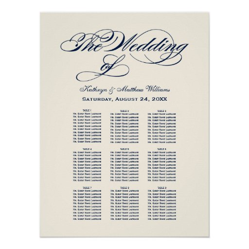 Wedding Seating Chart Navy Blue Calligraphy Poster Zazzle