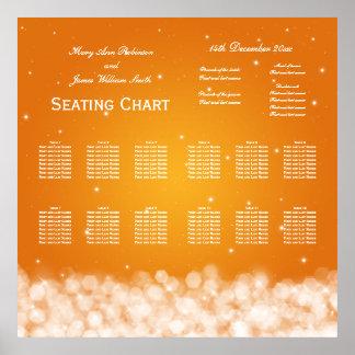 Wedding Seating Chart Party Sparkle Orange