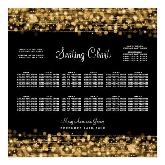 Wedding Seating Chart Party Sparkles Gold Poster