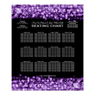 Wedding Seating Chart Party Sparkles Purple Poster