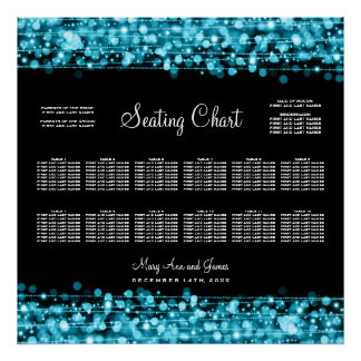 Wedding Seating Chart Party Sparkles Turquoise Poster