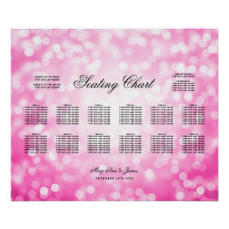 Wedding Seating Chart Pink Glitter Lights Poster