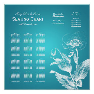 Wedding Seating Chart Poppy Turquoise Poster