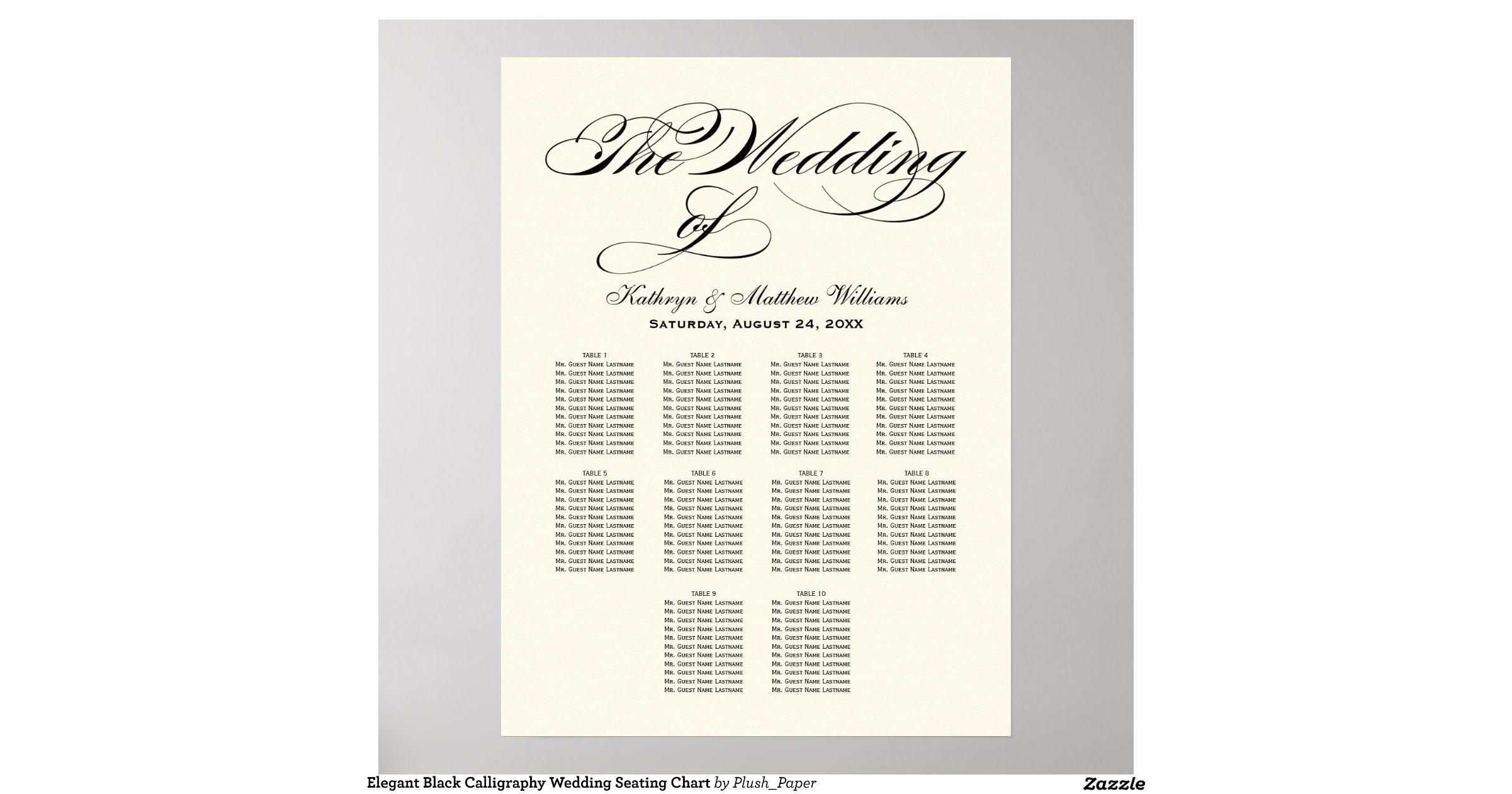 Wedding Seating Chart Poster Black Calligraphy