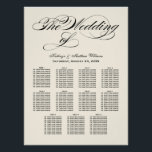 "Wedding Seating Chart Poster | Black Calligraphy<br><div class=""desc"">Elegant black calligraphy script wedding seating chart poster design features a monogram of the bride and groom names and wedding date and custom template text for eleven (11) table numbers and guest names. Black and soft white / light ivory colors.</div>"