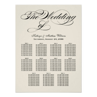 Wedding Seating Chart Poster | Black Calligraphy