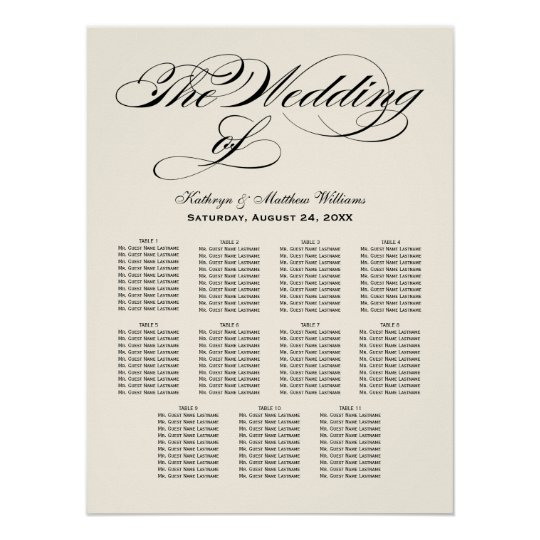 Wedding seating chart poster black calligraphy zazzle com