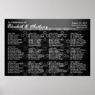 Wedding Seating Chart Poster Black Vintage