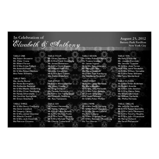 Wedding Seating Chart Poster Black Vintage
