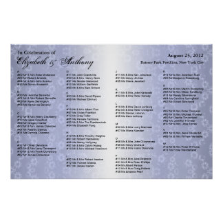 Wedding Seating Chart Poster Blue Floral