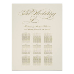 Wedding Seating Chart Poster | Gold Calligraphy