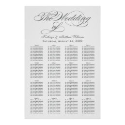 Wedding Seating Chart Poster | Gray Calligraphy