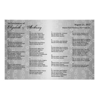 Wedding Seating Chart Poster Gray Floral
