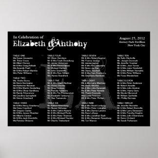 Wedding Seating Chart Poster Monogram Black 2