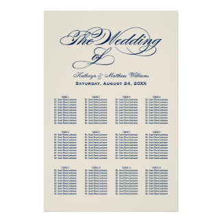 Wedding Seating Chart Poster | Navy Calligraphy